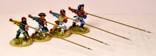 Landsknecht Unarmoured Pikemen Attacking.